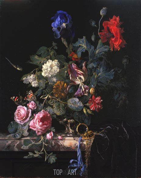 Flowers in a Silver Vase, 1663 | Willem van Aelst| Painting Reproduction