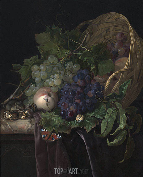 Willem van Aelst | Peaches, Chestnuts and Grapes in an Overturned Basket Resting on a Partially Draped Marble Ledge, 1677
