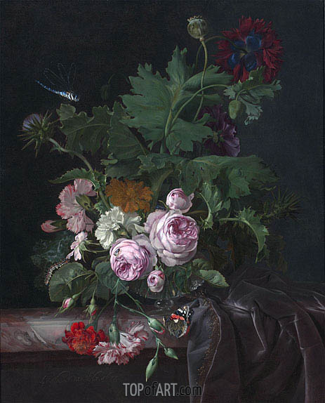 Willem van Aelst | Peonies, Carnations, Thistles and other Flowers in a Glass Vase on a Partially Draped Table, 1677