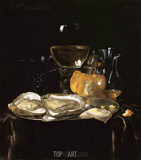 Still Life with a Roemer and Dish of Oysters, 1675 | Willem van Aelst| Painting Reproduction