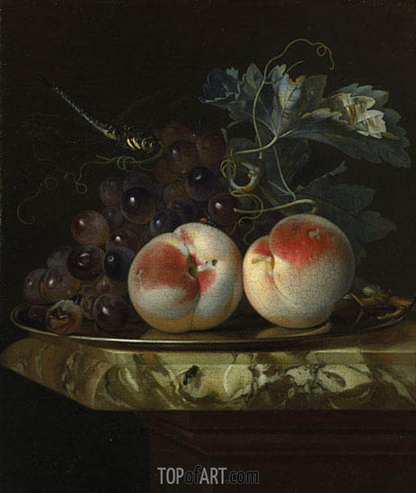 Willem van Aelst | A Still Life with Two Peaches and Bunch of Grapes on a Silver Plate set on a Marble Slab, 1664