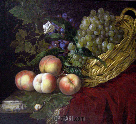 Still Life with Peaches and Grapes, 1660 | Willem van Aelst | Gemälde Reproduktion