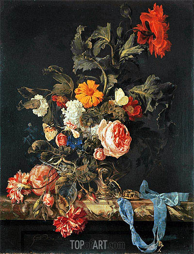 Vase of Flowers with Pocket Watch, 1663 | Willem van Aelst| Gemälde Reproduktion