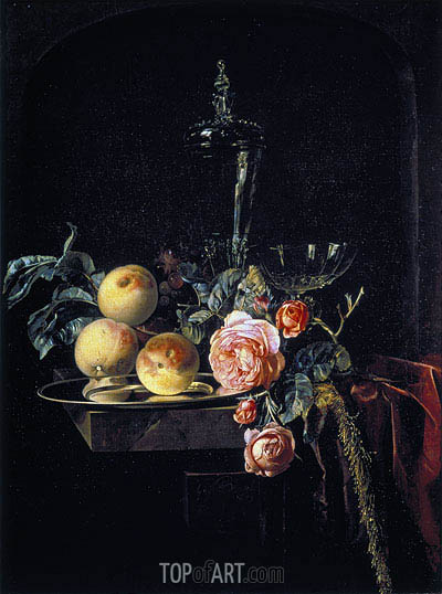 Roses and Peaches, 1659 | Willem van Aelst| Painting Reproduction