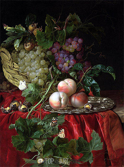 Still Life with Grapes and Peaches, undated | Willem van Aelst | Painting Reproduction