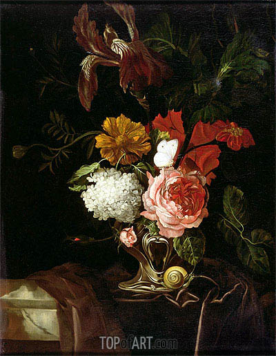Willem van Aelst | Flowers in a Silver Vase with a Snail and a Butterfly, undated