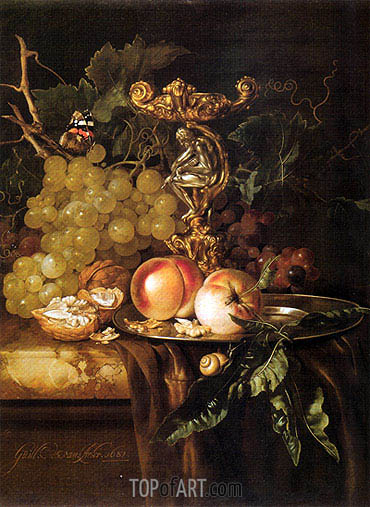 Still Life of Fruits, 1681 | Willem van Aelst| Painting Reproduction