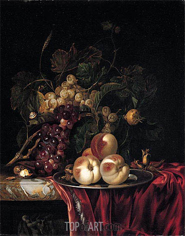 A Still Life of Peaches on a Pewter Plate, undated | Willem van Aelst| Painting Reproduction