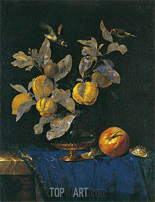 Glass Vase with Branches Bearing Fruit, 1664 | Willem van Aelst| Painting Reproduction