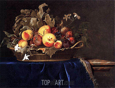 Willem van Aelst | Still Life with a Basket of Fruit on a Marble Ledge, 1650