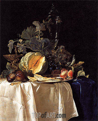 Still Life with Fruit and Crystal Vase, 1652 | Willem van Aelst | Painting Reproduction