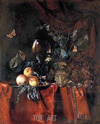 Fruit and a Glass of Wine, 1659 | Willem van Aelst| Painting Reproduction