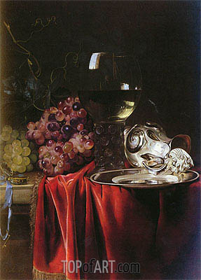 Willem van Aelst | A Still Life of Grapes, a Roemer, a Silver Ewer and a Plate, 1659