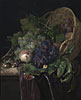 Peaches, Chestnuts and Grapes in an Overturned Basket Resting on a Partially Draped Marble Ledge | Willem van Aelst