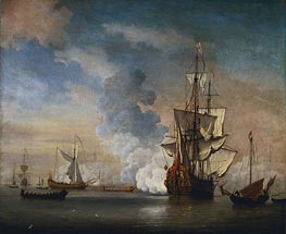 English Warship Firing a Salute, 1690 by Willem van de Velde | Painting Reproduction