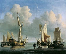 Ships off the Coast, 1672 by Willem van de Velde | Painting Reproduction