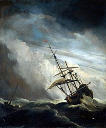 A Ship in High Seas Caught by a Squall, known as 'The Gust', c.1680 von Willem van de Velde | Gemälde-Reproduktion