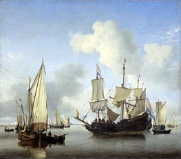Ships under the Coast for Anchor, c.1650/07 by Willem van de Velde | Painting Reproduction