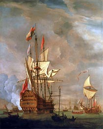 The English Ship 'Royal Sovereign' With a Royal Yacht in a Light Air, 1703 by Willem van de Velde | Painting Reproduction
