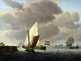 Ships at the Coast in Robust Breeze, c.1650/07 by Willem van de Velde | Painting Reproduction