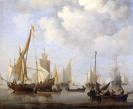 Calm Sea, c.1650/07 by Willem van de Velde | Painting Reproduction