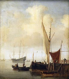 Harbor Scene, c.1650/07 by Willem van de Velde | Painting Reproduction