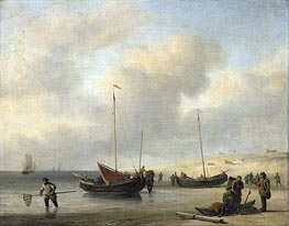 Fishermen's Boats at the Beach, c.1650/07 von Willem van de Velde | Gemälde-Reproduktion