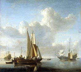 Ships at the Coast, c.1650/07 by Willem van de Velde | Painting Reproduction