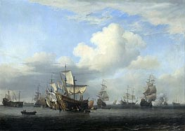 The conquerors take on board 'Swiftsure', 'Seven Oaks', 'Loyal George' and 'Convertine', 11-14 June 1666, c.1666/07 by Willem van de Velde | Painting Reproduction