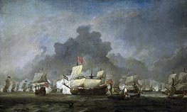 The Fight of Michiel Adriaensz the Ruyter against the duke of York on the 'Royal Prince', 7 June 1672, c.1672/07 by Willem van de Velde | Painting Reproduction