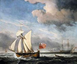 The 'Royal Escape' in a Breeze, b. 1685 by Willem van de Velde | Painting Reproduction