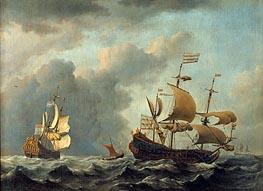 The 'Gouden Leeuw' at Sea in Heavy Weather, 1671 by Willem van de Velde | Painting Reproduction