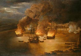 The Attack on Shipping in Tripoli, 24 January 1676, 1676 by Willem van de Velde | Painting Reproduction