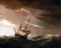 An English Ship at Sea Lying-To in a Gale, undated by Willem van de Velde | Painting Reproduction