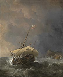 An English Ship in a Gale Trying to Claw off a Lee Shore | Willem van de Velde | Painting Reproduction