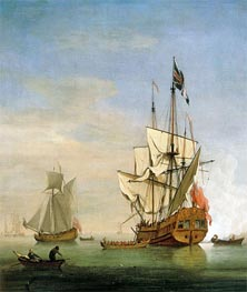 An English Sixth-Rate Ship Firing a Salute As a Barge Leaves, A Royal Yacht Nearby | Willem van de Velde | Painting Reproduction