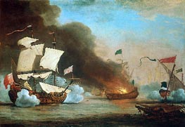 An English Ship in Action with Barbary Corsairs, 1685 by Willem van de Velde | Painting Reproduction