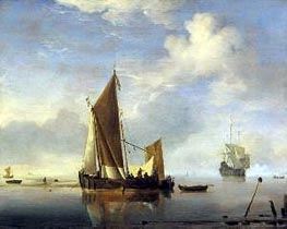 Calm: a Fishing Boat at Anchor, c.1660 by Willem van de Velde | Painting Reproduction