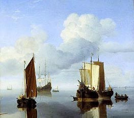 Calm: Fishing Boats under Sail, c.1655/60 by Willem van de Velde | Painting Reproduction