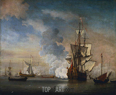 English Warship Firing a Salute, 1690 | Willem van de Velde | Painting Reproduction