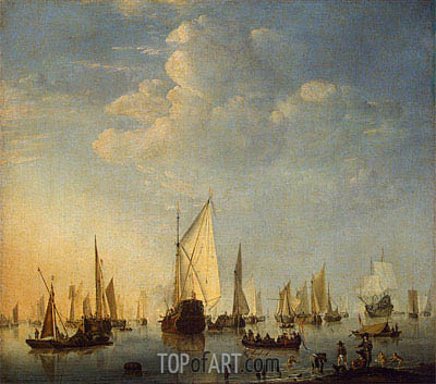 Ships in a Calm Sea, 1653 | Willem van de Velde | Painting Reproduction