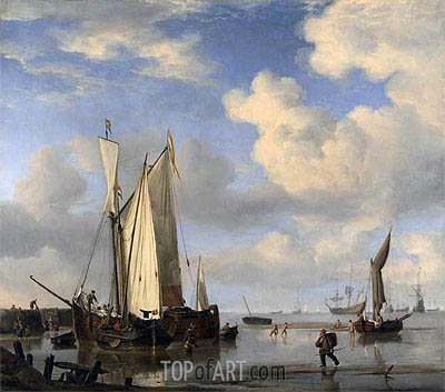 Dutch Vessels Inshore and Men Bathing, 1661 | Willem van de Velde | Painting Reproduction