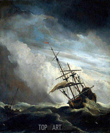 Willem van de Velde | A Ship in High Seas Caught by a Squall, known as 'The Gust', c.1680
