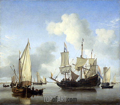 Willem van de Velde | Ships under the Coast for Anchor, c.1650/07