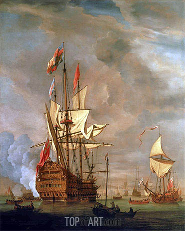 The English Ship 'Royal Sovereign' With a Royal Yacht in a Light Air, 1703 | Willem van de Velde | Gemälde Reproduktion