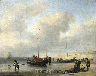 Willem van de Velde | Fishermen's Boats at the Beach, c.1650/07