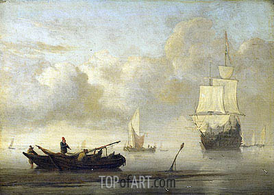 Ships at the Coast, Calm Sea, c.1650/07 | Willem van de Velde | Painting Reproduction