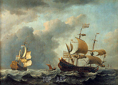 The 'Gouden Leeuw' at Sea in Heavy Weather, 1671 | Willem van de Velde | Gemälde Reproduktion