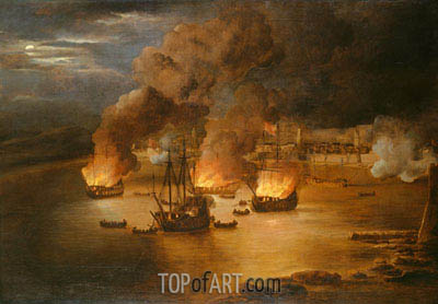 The Attack on Shipping in Tripoli, 24 January 1676, 1676 | Willem van de Velde | Gemälde Reproduktion