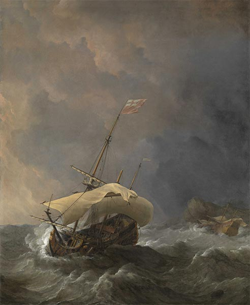 Willem van de Velde | An English Ship in a Gale Trying to Claw off a Lee Shore, 1672